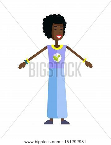 Smiling woman with branch and leaves emblem on clothes, standing as part of human chain. Ecologist, environmentalist, nature protection activist or volunteer illustration. Flat design. Earth day.