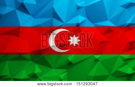 Low poly illustrated Azerbaijan flag. 3d rendering.