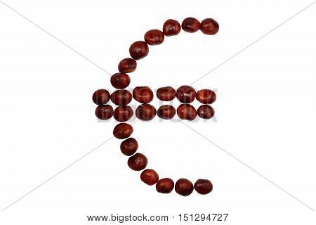 Euro symbol is lined by chestnuts on a white background isolated