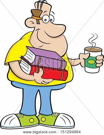 Cartoon illustration of a man holding books and a cup of coffee.