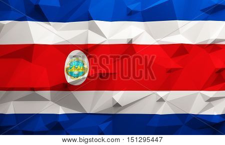Low poly illustrated Costa Rica flag. 3d rendering.