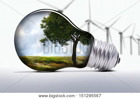 Landscape Of Wind Turbine And Blue Sky Background. Concept For Wild Energy, Electricity, Alternative