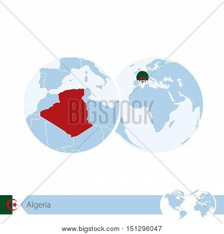 Algeria On World Globe With Flag And Regional Map Of Algeria.