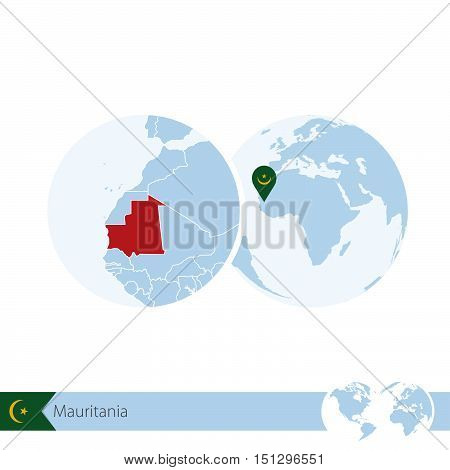 Mauritania On World Globe With Flag And Regional Map Of Mauritania.