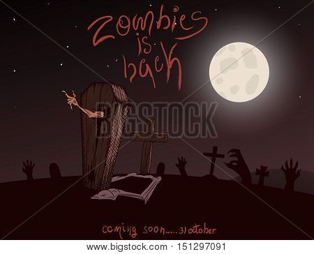 Vintage poster for zombie party. Halloween design