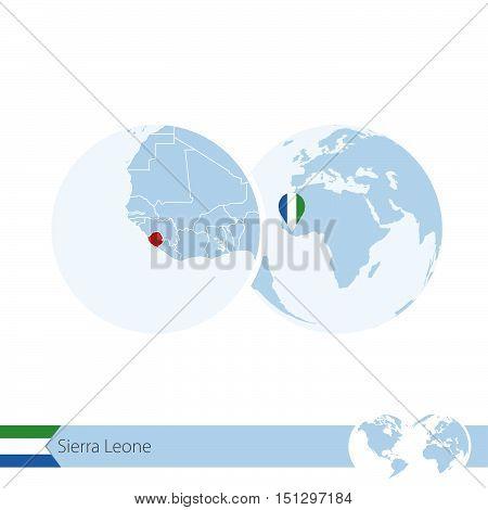 Sierra Leone On World Globe With Flag And Regional Map Of Sierra Leone.