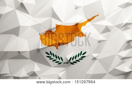 Low poly illustrated Cyprus flag. 3d rendering.