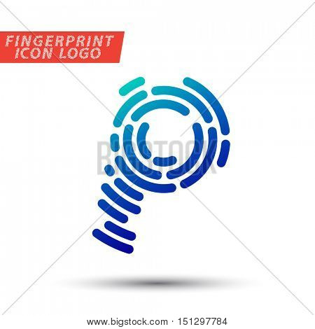 Vector logo design element, abstract information and identification fingerprint letter P color icon