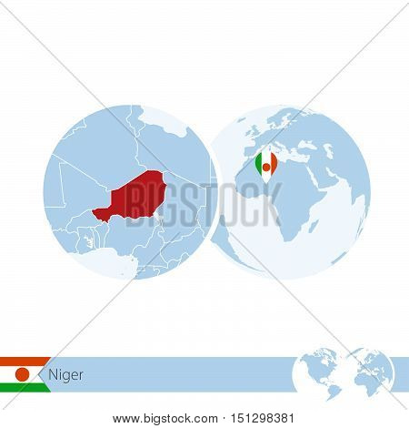 Niger On World Globe With Flag And Regional Map Of Niger.