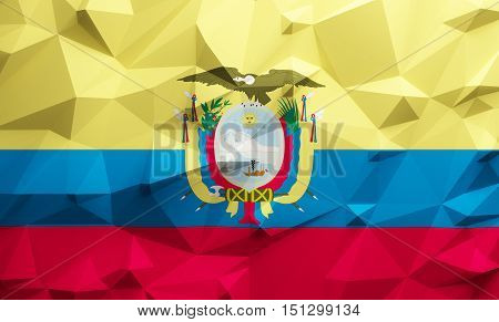 Low poly illustrated Ecuador flag. 3d rendering.