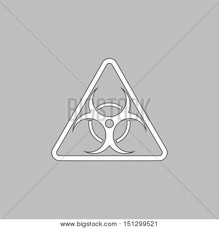 Biohazard Simple line vector button. Thin line illustration icon. White outline symbol on grey background