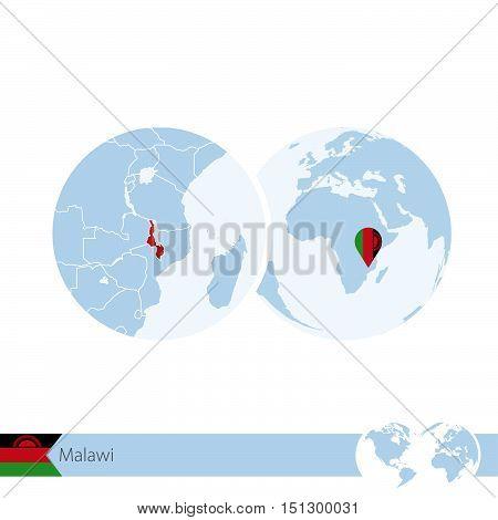 Malawi On World Globe With Flag And Regional Map Of Malawi.