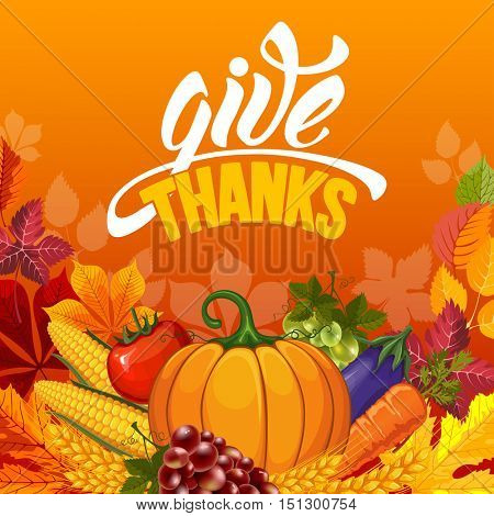Thanksgiving greeting card with pumpkin and calligraphy inscription Give Thanks. Happy Thanksgiving Day design template. Vector stock illustration.