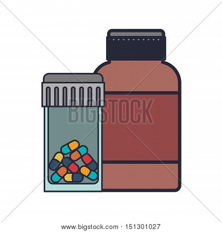 colorful pill bottle and remedy bottle vector illustration