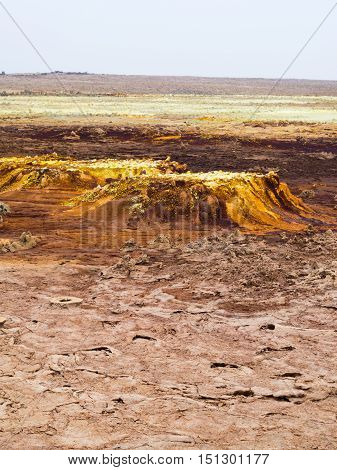 Landscape around sulphur lake Dallol in a volcanic explosion crater in the Danakil Depression northeast of the Erta Ale Range in Ethiopia the hottest place on Earth. poster