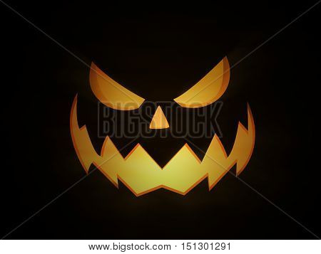 Halloween night scary and evil Jack O Lantern pumpkin with glowing eyes and light coming from within. With light beams and spooky fog