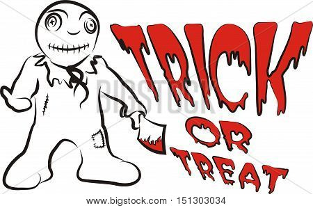 trick or treat - halloween monster with cleaver