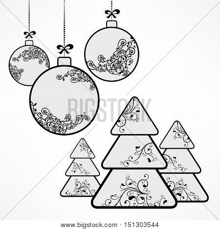 Silver christmas ornament balls tree decoration on white. New Year design elements winter holiday symbol vector illustration