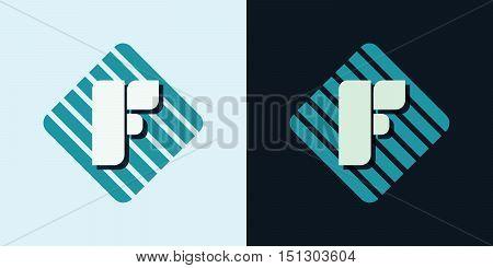 letter F company identification logo bright and dark big vector illustration