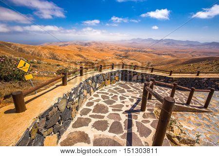 Beautiful View To Vulcanic Landscape Of Fuerteventura Island From Morro Velosa View Point Near Betan