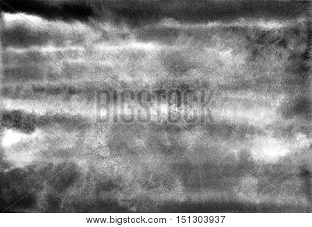 Gray grange watercolor banner. Hand painted black and white clouds. Abstract vintage background. Ink spreading.