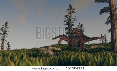3d illustration of the spinosaurus attack