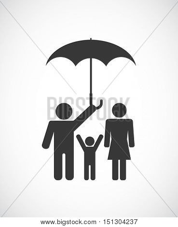 man with woman and child under umbrella - conceptual icon