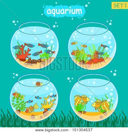 Aquarium set with fish and decoration. Fishbowl set. Vector collection.
