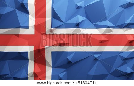 Low poly illustrated Iceland flag. 3d rendering.