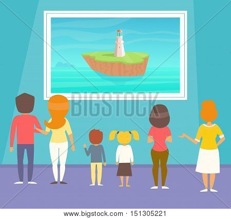 Excursion to the gallery of fine arts. Vector illustration. Cartoon character. Isolated.