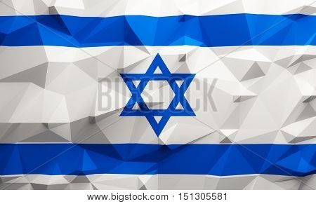 Low poly illustrated Israel flag. 3d rendering.