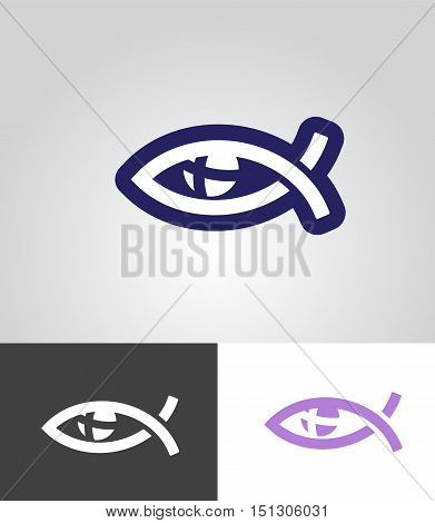 christian fish as eye symbol with cross in eyeball as christian emblem abstract vector illustration