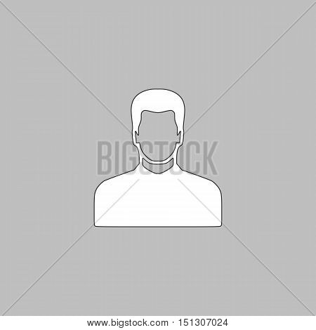 Male avatar Simple line vector button. Thin line illustration icon. White outline symbol on grey background
