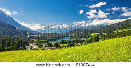 Panorama View To Lenzerheide Village With Haidisee, Arose Rothorn And Swiss Alps. Lenzerheide Is A M