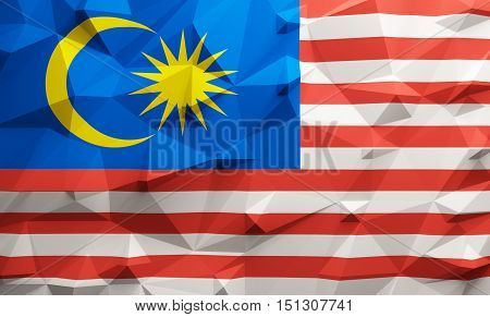 Low poly illustrated Malaysia flag. 3d rendering.