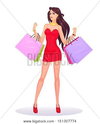 Vector smiling girl holding in hands bags with purchases