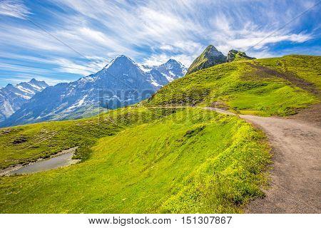Panorama Trail Leading To Kleine Scheidegg From Mannlichen With Eiger, Monch And Jungfrau Mountain (