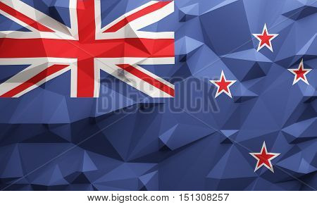 Low poly illustrated New Zealand flag. 3d rendering.