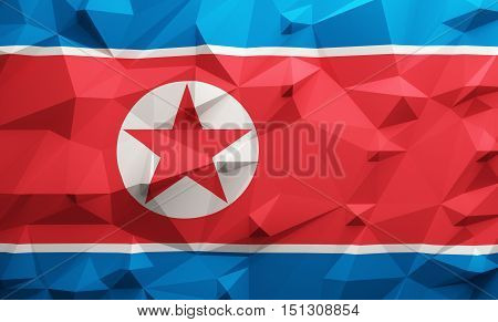 Low poly illustrated North Korea flag. 3d rendering.