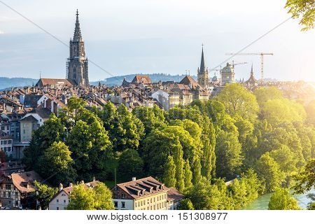 View on the old town with Munster church tower in Bern city in Switzerland