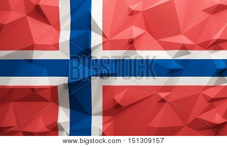Low poly illustrated Norway flag. 3d rendering.