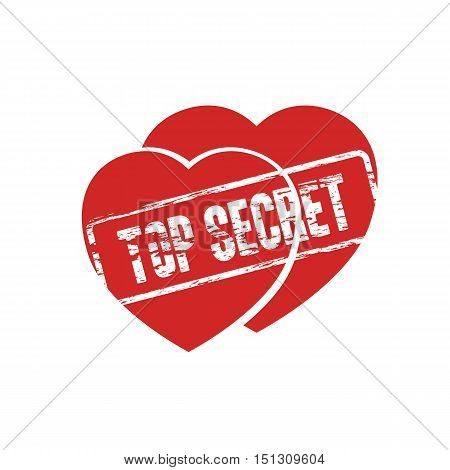 two hearts top secret stamp as secret love symbol abstract vector illustration