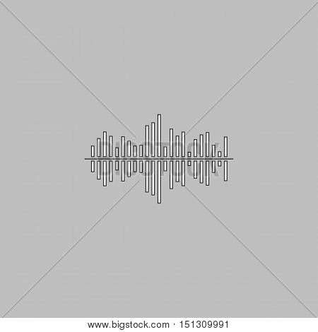 soundwave Simple line vector button. Thin line illustration icon. White outline symbol on grey background