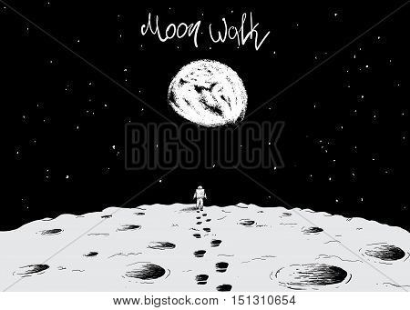 Astronaut walking on surface of moon.Earth is visible far away