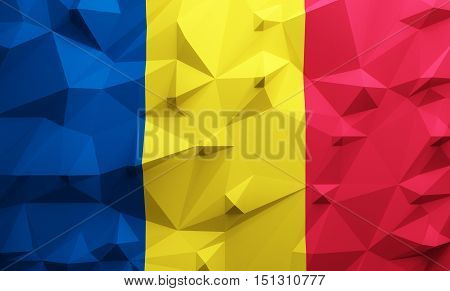 Low poly illustrated Romania flag. 3d rendering.