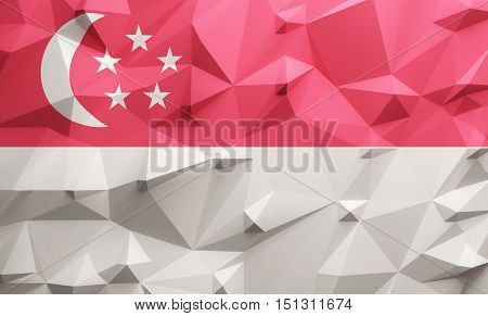 Low poly illustrated Singapore flag. 3d rendering.