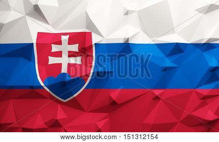 Low poly illustrated Slovakia flag. 3d rendering.