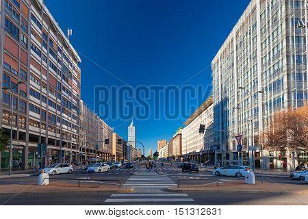 MILAN ITALY - September 07 2016: Morning in business part of city Milan located on the Vittor Pisani Street ( Via Vittor Pisani)