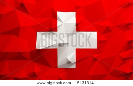 Low poly illustrated Swiss flag. 3d rendering.