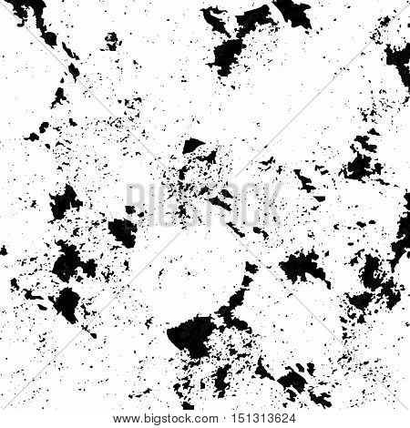 Black spattered background with blots and spots. Black ink vector texture